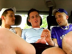 Gay boy party on the backseat ends up in cum