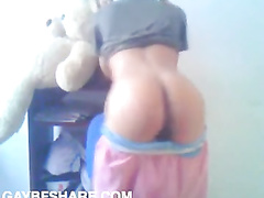 Hot latino shows his smooth perky ass on cam