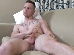 Handsome sexy twink fucks the pillow at front of camera