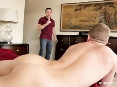 Dylan gently kisses Ian's mouth and cock