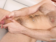 Tight and big muscled gay enjoys dick masturbation