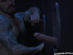 Twink enjoys sucking huge dick in glory hole and then gets fucked hard