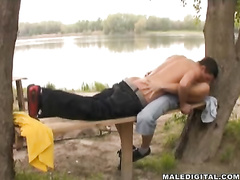 Tender skinny twink friends are pleasuring exciting hot fuck outdoors