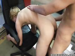 Sissy sweet blond guy enjoys sucking skinny boyfriend's dick