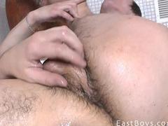 Young boy produces cum in the bath