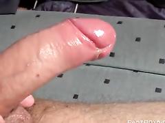 Amateur gay self shoots his energetic masturbation